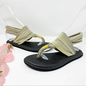 Sanuk Yoga Sling Sandals Gray Yellow Stripe Sz 7